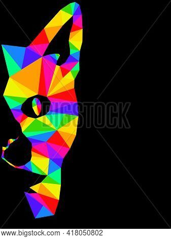 Mosaic Of Serious Cat Muzzle In Bright Colors Isolated On The Black Background, Decoration On Glass