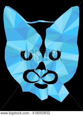 Mosaic Of Serious Cat In Blue Hues Isolated On The Black Background, Decoration On Glass