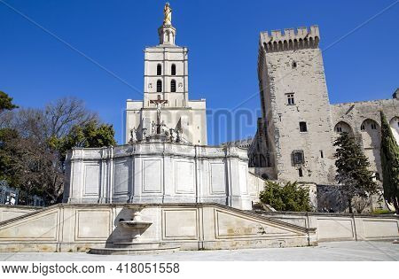 The Palais Des Papes Dominates The Avignon City, The Surrounding Remparts And The Remains Of A 12th-