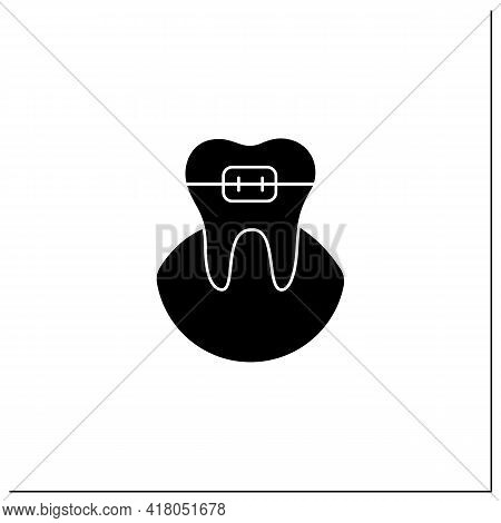 Orthodontics Glyph Icon. Orthodontists Fixed And Corrected Bite And Realigned Teeth Over Time. Tooth