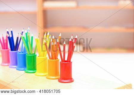 Colored Pencils In Wooden Colored Supplies, Montessori Education, School Supplies