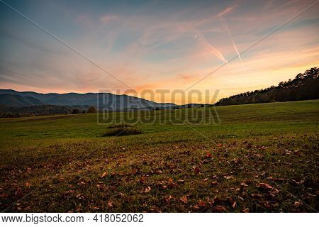 Cades Cove Field At Sunset In Autumn
