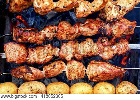 Delicious Appetizing Piece Of Meat Fried Over The Fire At A Picnic