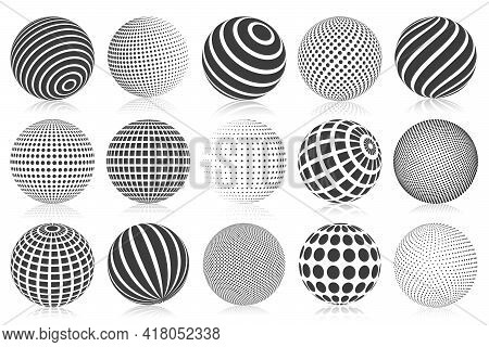 Dotted Halftone 3d Sphere. Striped, Dotted And Checkered 3d Spheres, Abstract Sphere Balls. Minimali