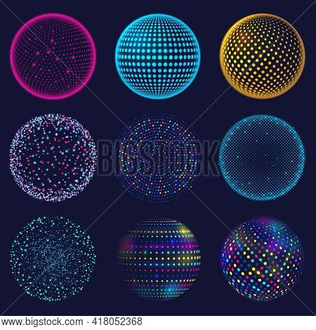 Dotted Neon 3d Sphere. Abstract Atomic Dotted Spheres, 3d Grid Glowing Spherical Shapes Vector Illus