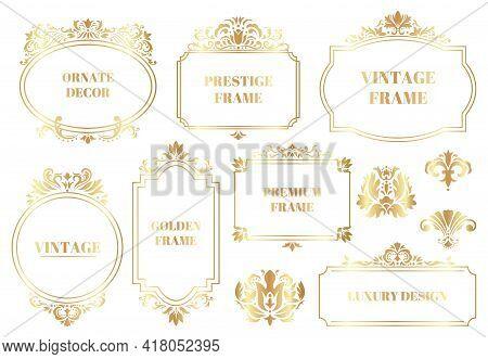 Damask Ornamental Frames. Antique Baroque Floral Golden Border Frames Isolated Vector Illustration S