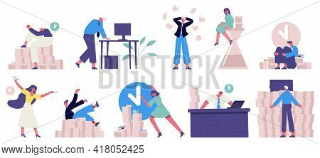 Deadline Office Work. Unorganised Rushing Office Characters, Fail Time Management Vector Illustratio