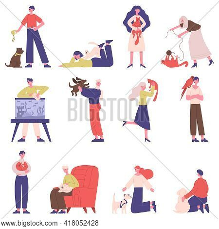 Pet Owners. People With Domestic Animals, Cat, Dog, Fish And Bird, Men And Women Play, Walk And Hug