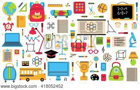 Back To School Elements. School Hand Drawn Symbols, Globe, School Bus, Backpack And Notepad Isolated