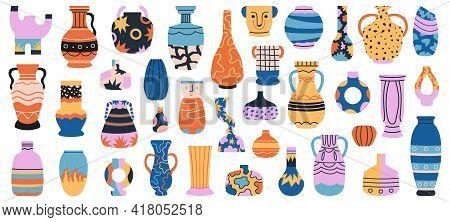 Ceramic Vases. Porcelain Ceramic Vase, Minimalist Antique Pottery Isolated Hand Drawn Vector Illustr