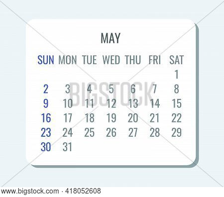 May Year 2021 Vector Monthly Plain Minimalist Simple Light Calendar. Week Starting From Sunday.