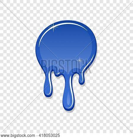 Drip Paint Spot 3d Isolated White Transparent Background. Blue Ink Splash. Splatter Stain Texture. D
