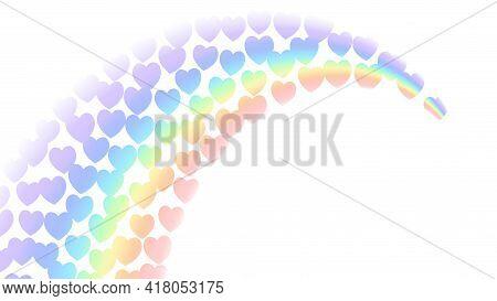 Rainbow Gradient, White Background. Community Tolerance Design. Heart Color Rainbow. Colorful Bright