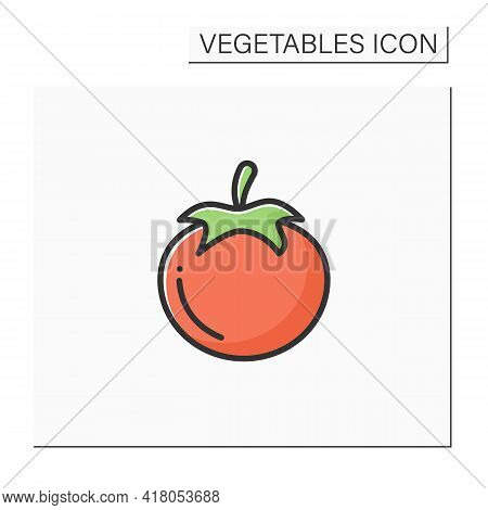 Tomato Color Icon. Edible Vegetable. Consumed In Diverse Ways, Raw Or Cooked, In Many Dishes, Sauces
