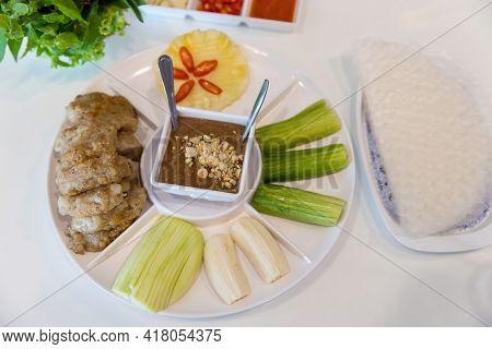 Vietnamese Pork Meatball With Vegetables Wraps. Vietnamese Food Called \