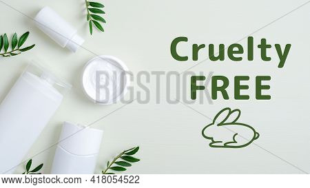 Cruelty-free Natural Cosmetic Products And Green Leaves. No Animal Testing. Spa Beauty Products For
