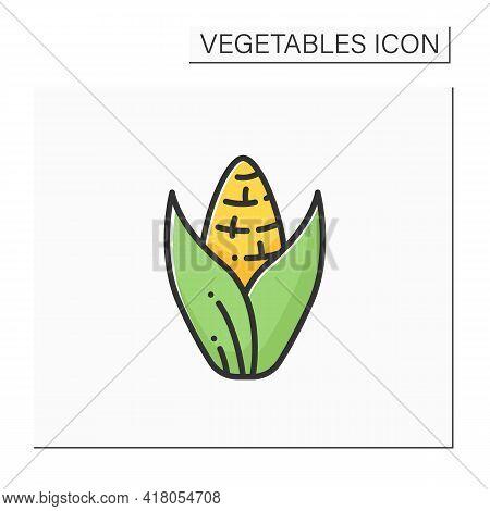 Sweet Corn Color Icon. Edible Vegetable.dietary Food. Vegetarian, Healthy Nutrition. Health Benefits