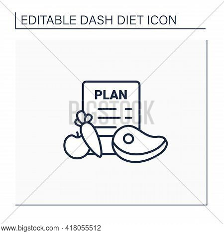 Eating Plan Line Icon.healthy Diet Plan For Breakfast, Dinner, Lunch.including Vegetables Like Carro