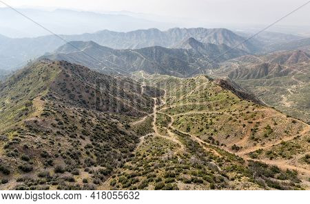 Labyrinth Of Countryside Roads In Mountain Area Of Cyprus, Aerial View
