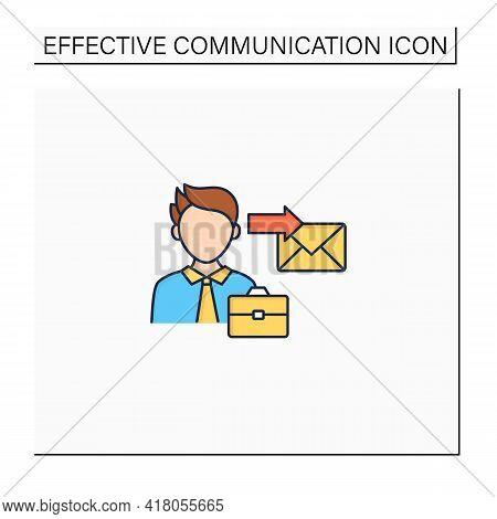 Sender Color Icon. Initiates Communication, Sending Messages. Communicator. Effective Communication