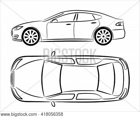 Modern Car Sedan, Abstract Silhouette On White Background. Vehicle Icons Set View From Side And Top.