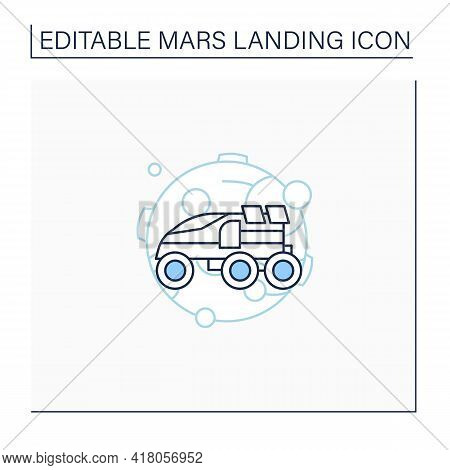 Perseverance Rover Line Icon. Special Mars Transport Exploration. Rover. Planet Research. Mars Landi