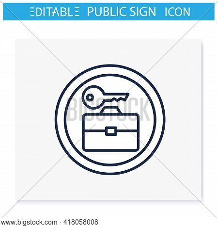 Baggage Lockers Symbol Line Icon. Luggage Room. Travel Service Sign. Public Place Navigation. Univer