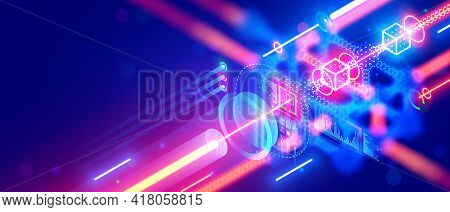 Quantum Computing. Close Up Of Optical Cpu Process Light Signal. Quantum Computer Of Glowing Qubits.