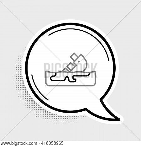 Line Wrecked Oil Tanker Ship Icon Isolated On Grey Background. Oil Spill Accident. Crash Tanker. Pol