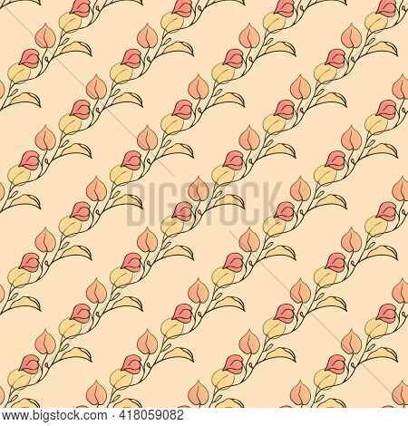 Leaves For Children. Beige And Gold. Vector. Children's Texture. Leaves Seamless Pattern. Soft Paste