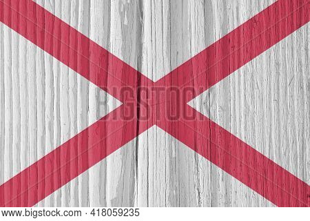 Alabama State Flag On Dry Wooden Surface. Light, Pale, Faded Paints. Background, Wallpaper Or Backdr