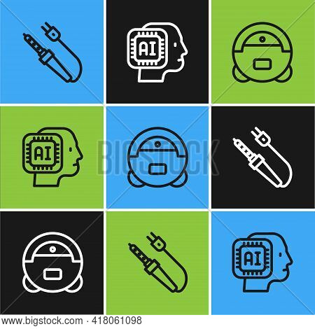 Set Line Soldering Iron, Robot Vacuum Cleaner And Humanoid Robot Icon. Vector