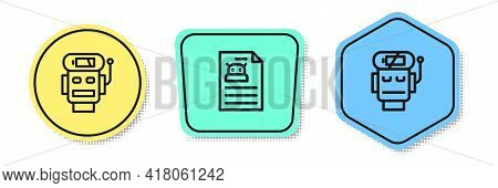 Set Line Robot Low Battery Charge, Technical Specification And . Colored Shapes. Vector