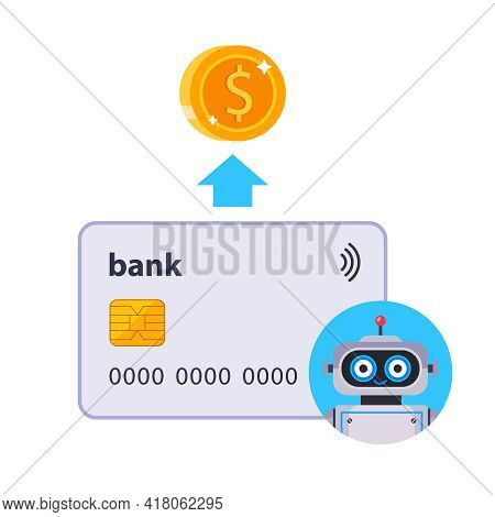 Automatic Debiting Of Funds From A Bank Card. The Robot Debits Funds From The Bank Account. Flat Vec