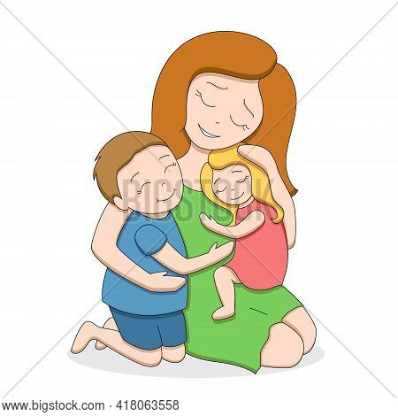 Red-haired Loving Tender Mother With Two Cute Happy Children, Teenage Boy And Little Girl, Hugging E