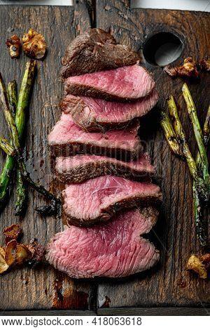 Medium Rare Beef Steak Set, Tenderloin Or Fillet Mignon Cut, On Wooden Serving Board