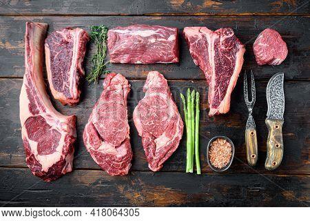 Variety Of Raw Black Angus Prime Meat Steaks Set, Tomahawk, T Bone, Club Steak, Rib Eye And Tenderlo
