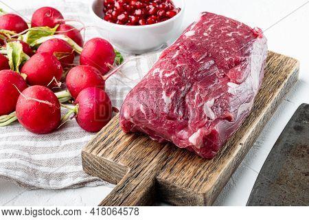 Raw Beef Meat Steak Tenderloin Fillet Mignon Set, On White Stone  Background