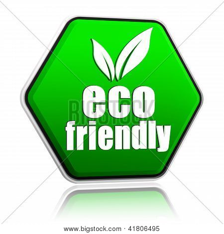 Eco Friendly With Leaf Sign In Green Button