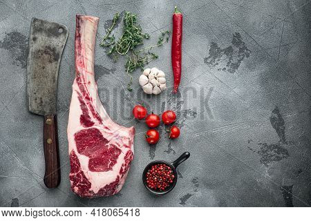 Tomahawk Raw Fresh Beef Steak With Spices Set, And Old Butcher Cleaver Knife, With Seasoning And Her