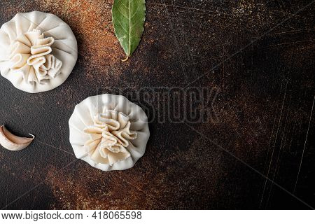 Uzbek Manti. Manti Or Manty Dumplings, Popular Uzbek-asian Dish Set, On Old Dark Rustic Background,