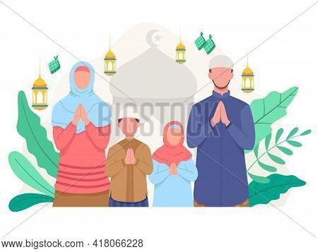 Happy Family Greeting And Celebrating Eid Mubarak