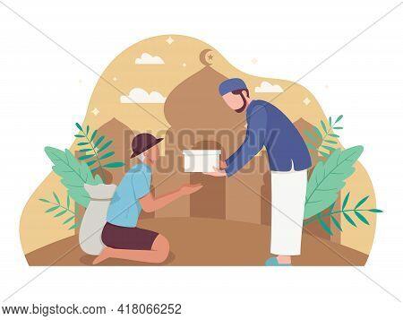 Man Giving Alms Or Zakat In The Ramadan