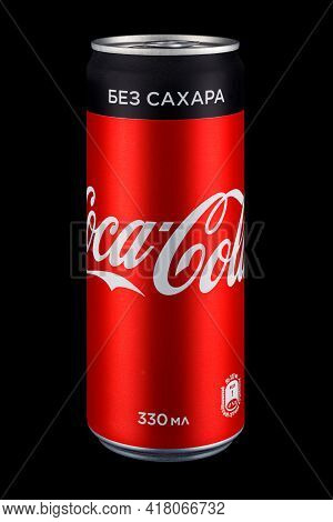 Moscow, Russia - April 07, 2021: Coca-cola Sugar Free In Red Aluminum Can With Black Stripe On Black