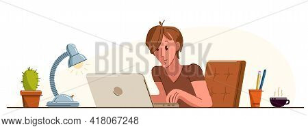 Young Man Office Worker Pensive Concentrated On Her Work Vector Flat Illustration Isolated, Serious