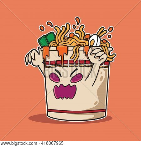Ramen Cup Monster Character For The Scary Event