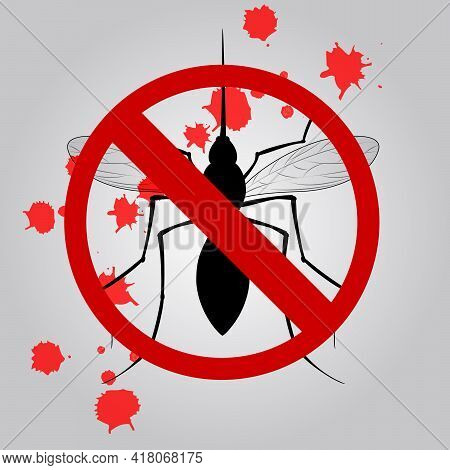 Stop Mosquito Sign Isolated. Anti Mosquito Sign With A Realistic Mosquito. Vector Illustration Eps10