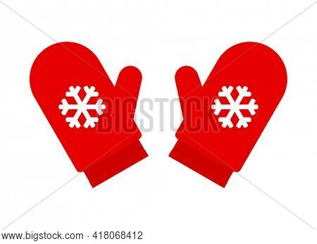 red mittens santa with snowflake icon