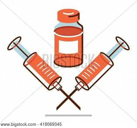 Vaccination Theme Vector Illustration Of A Syringe With Vial Isolated Over White, Epidemic Or Pandem