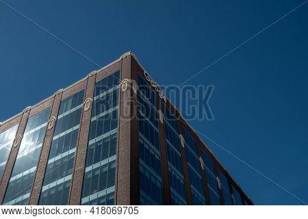 Chicago, Il April 2, 2021, Google Chicago Fulton Market Headquarters Sign On Corner Of Building. Ext